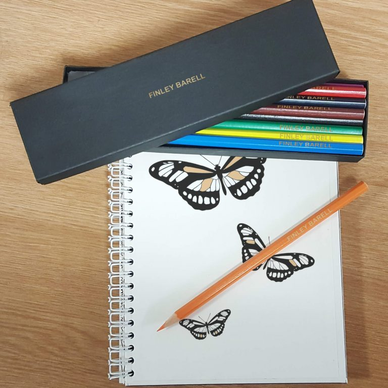 Personalised 12 Colouring Pencils in a Black Box
