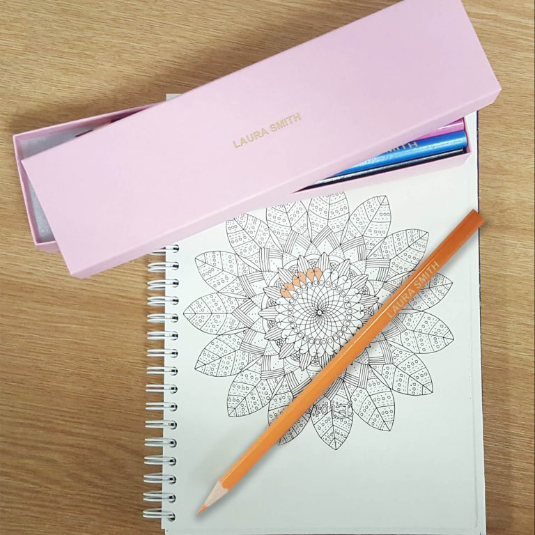 Personalised 12 Colouring Pencils in a Pink Box