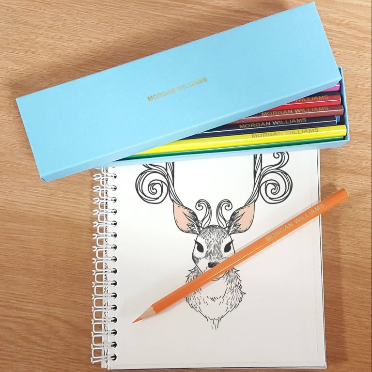 Personalised 12 Colouring Pencils in an Aqua Box