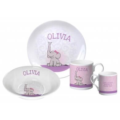 Personalised Baby Girl Elephant breakfast set