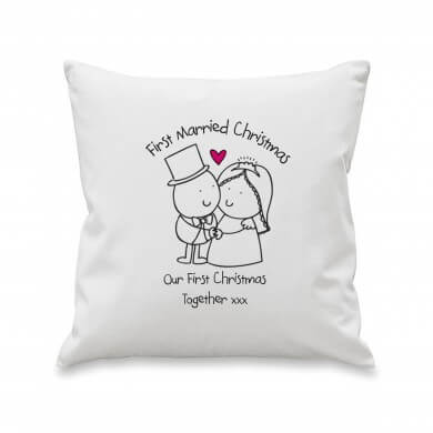 Personalised Chilli & Bubbles Married Christmas Cushion Cover