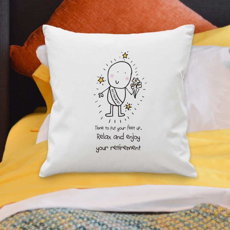 Personalised Chilli & Bubbles Retirement Cushion Cover