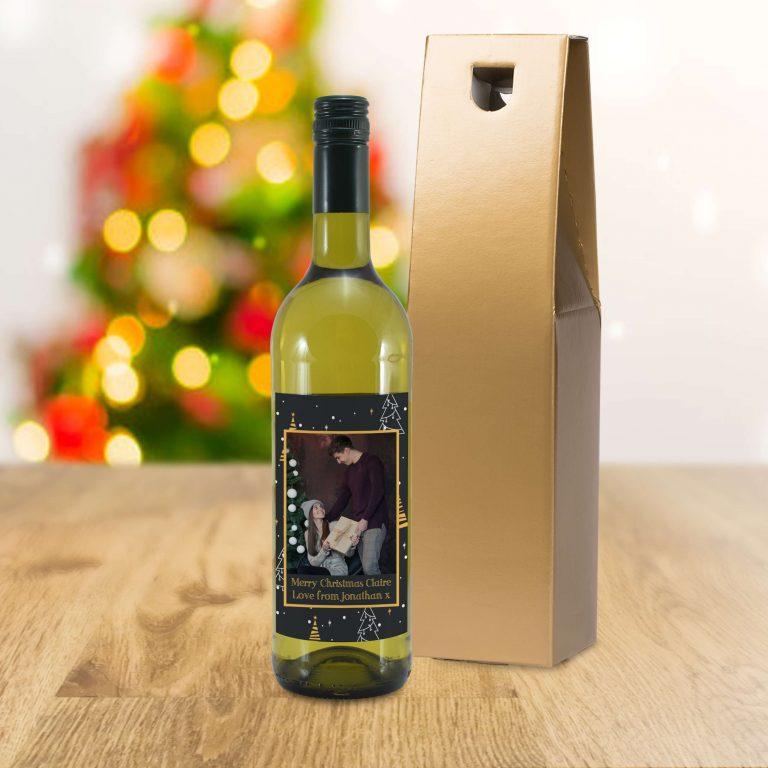 Personalised Christmas Tree Photo Upload Bottle Of White Wine