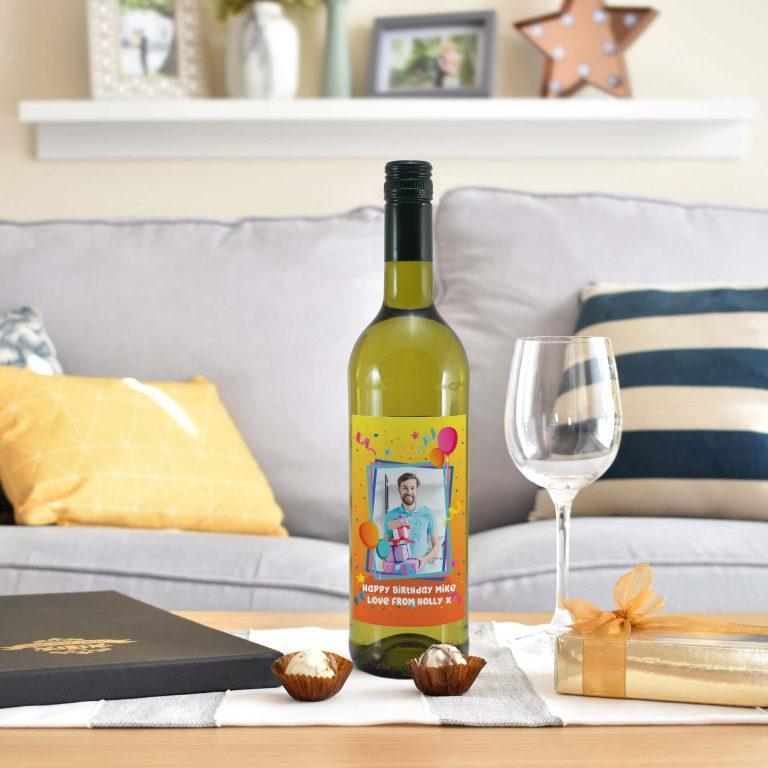 Personalised Colourful Birthday Photo Upload Bottle Of White Wine