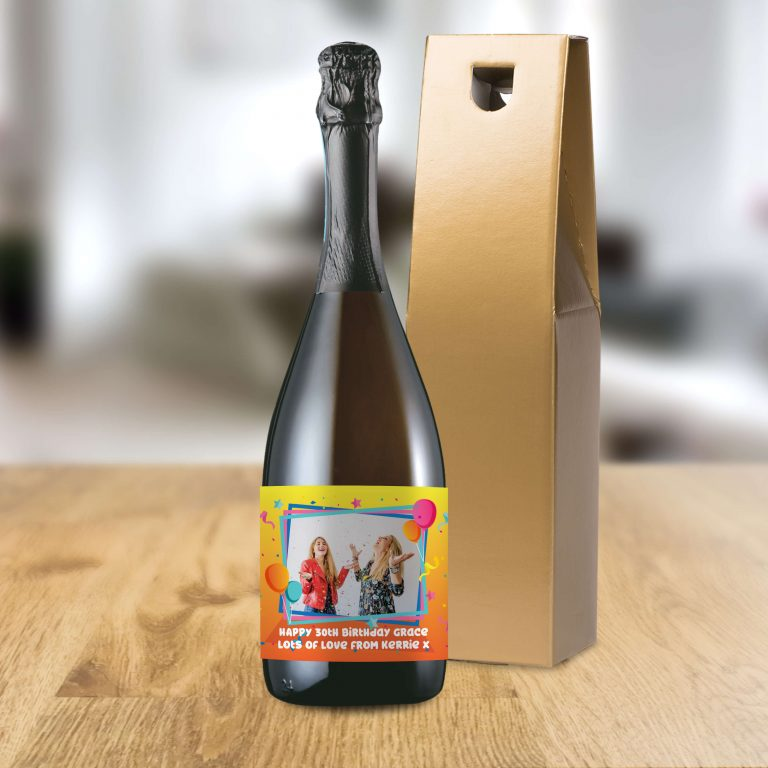 Personalised Colourful Birthday Photo Upload Bottle Of Prosecco
