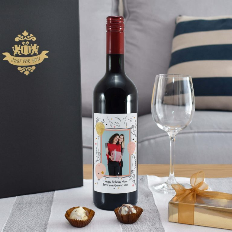 Personalised Floral Birthday Photo Upload Bottle Of Red Wine