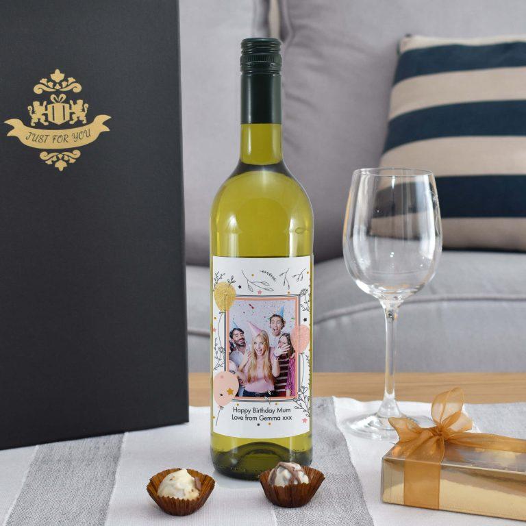 Personalised Floral Birthday Photo Upload Bottle Of White Wine