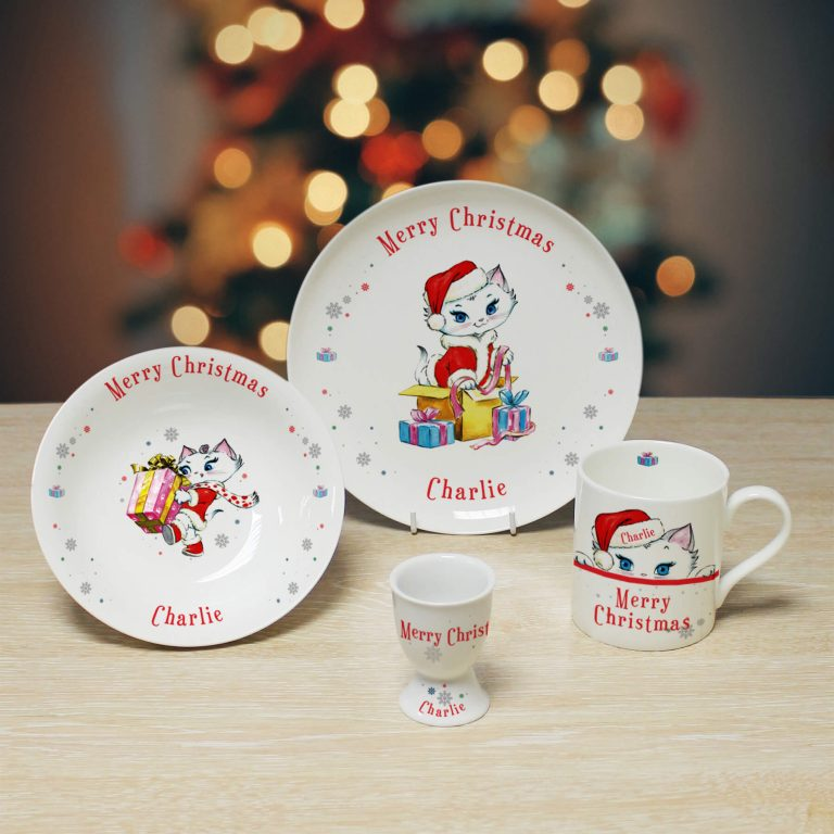 Personalised Merry Christmas Nina Kitten Breakfast Set