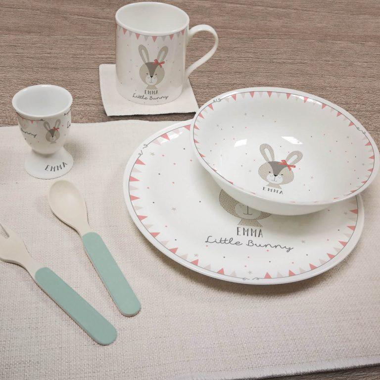Personalised Little Bunny Pink Breakfast Set