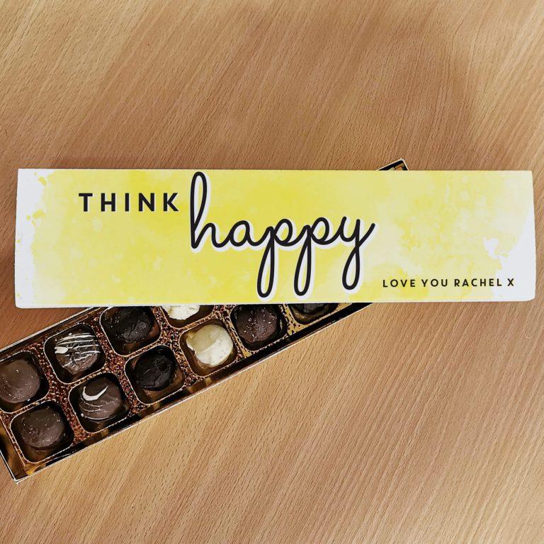 Personalised Think Happy Handmade Truffles
