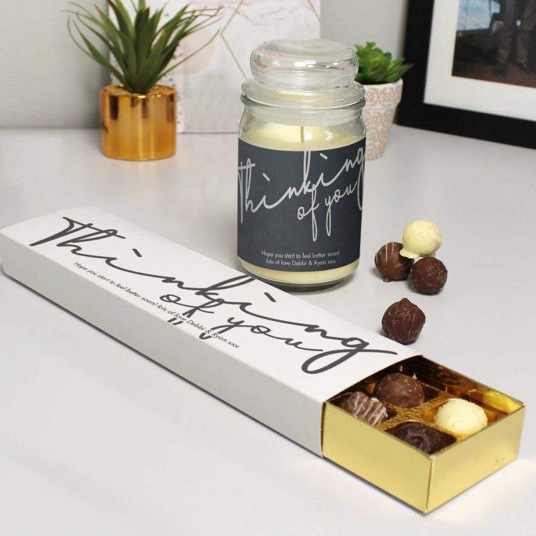 Personalised Thinking Of You Candle Jar & Truffles Set