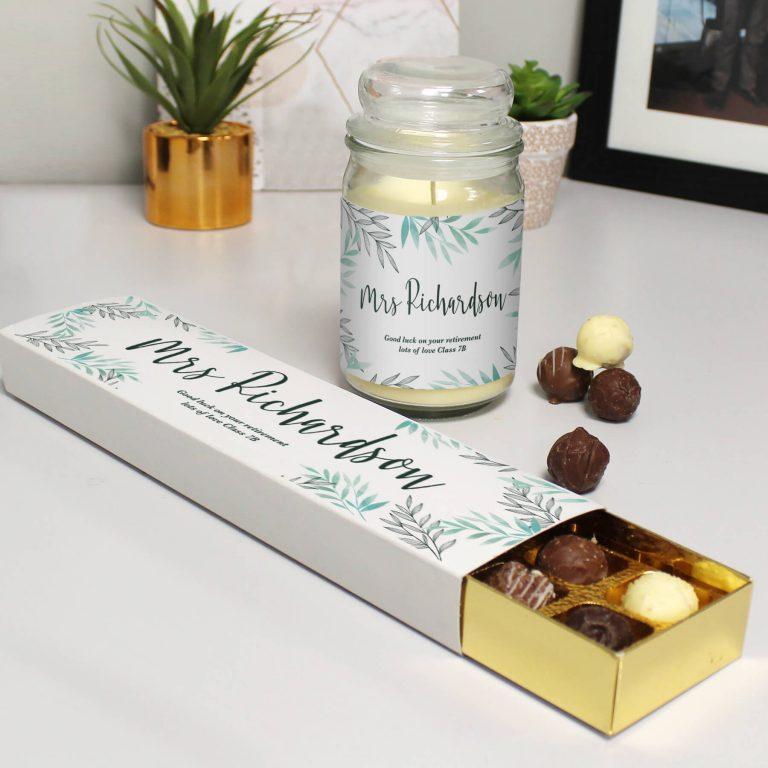 Personalised Floral Candle Jar & Truffles Set