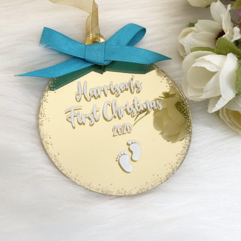 Personalised 'First Christmas' Bauble – Gold
