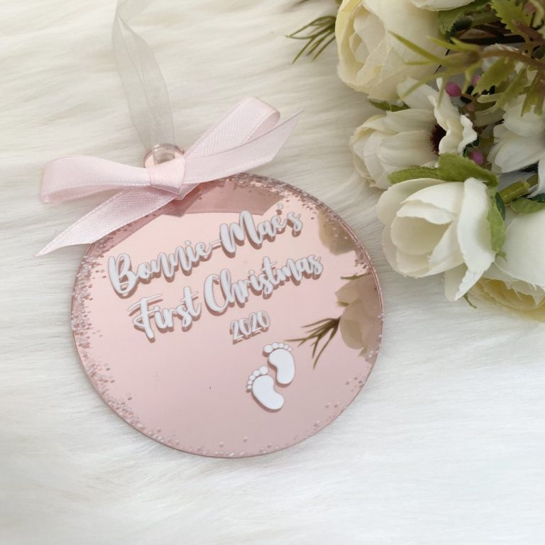 Personalised 'First Christmas' Bauble – Rose Gold