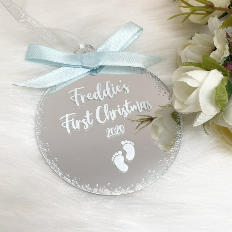 Personalised 'First Christmas' Bauble – Silver