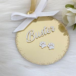 Personalised 'Pet' Christmas Bauble – Gold