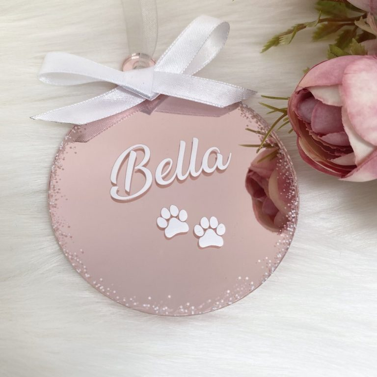 Personalised 'Pet' Christmas Bauble – Rose Gold