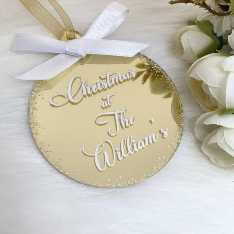 Personalised 'Christmas At The' Bauble – Gold