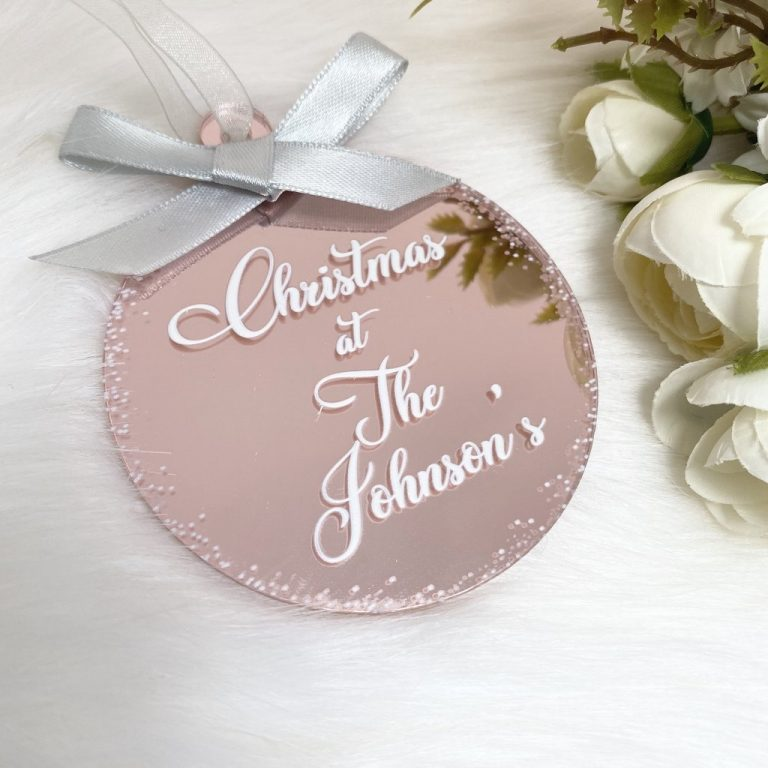 Personalised 'Christmas At The' Bauble – Rose Gold