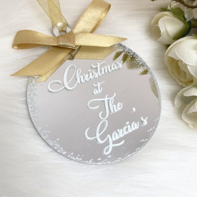 Personalised 'Christmas At The' Bauble – Silver