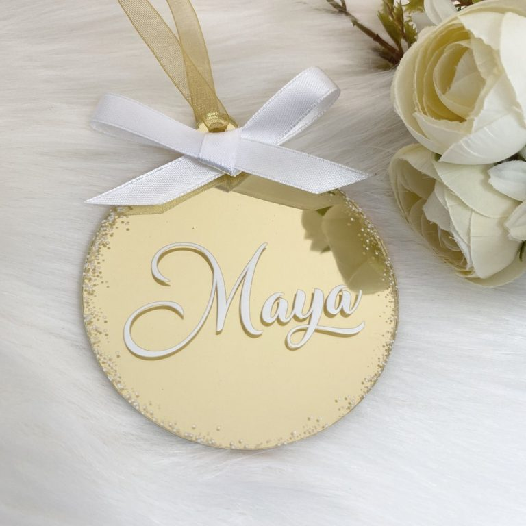 Personalised 'Any Name' Christmas Bauble – Gold