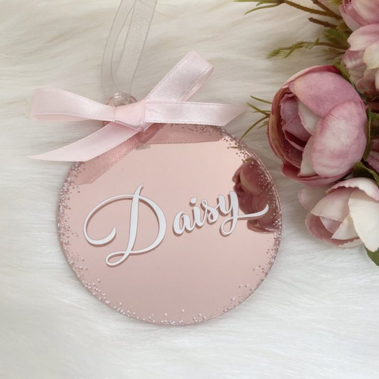 Personalised 'Any Name' Christmas Bauble – Rose Gold