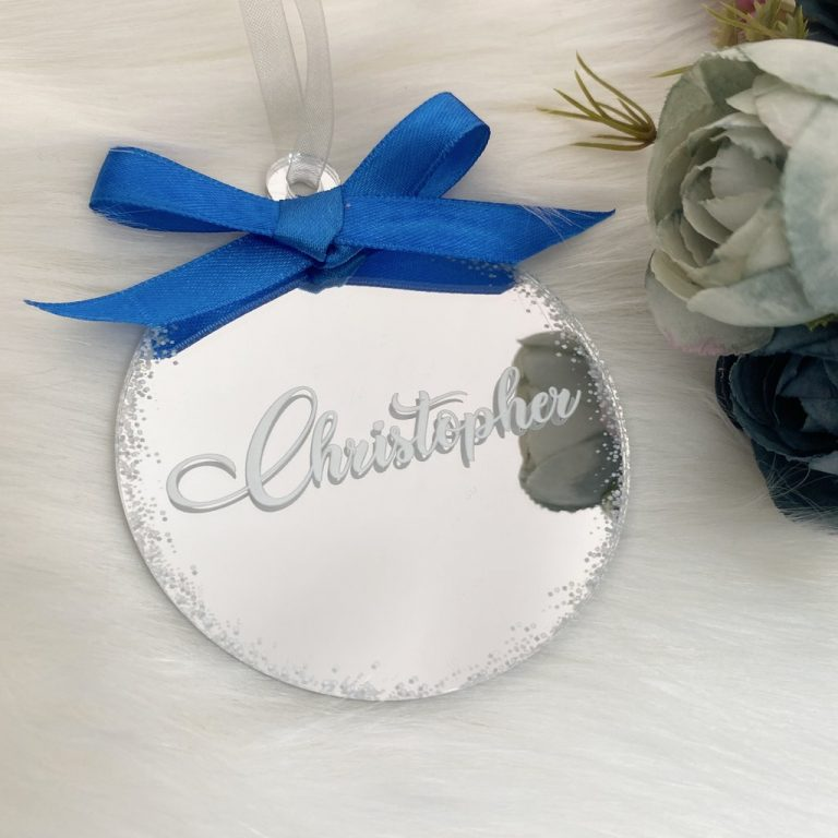 Personalised 'Any Name' Christmas Bauble – Silver