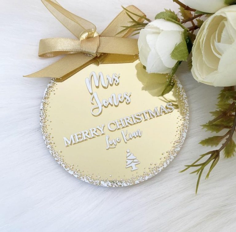 Personalised 'Teacher' Bauble – Gold