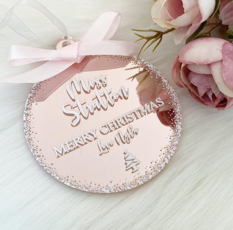 Personalised 'Teacher' Bauble – Rose Gold