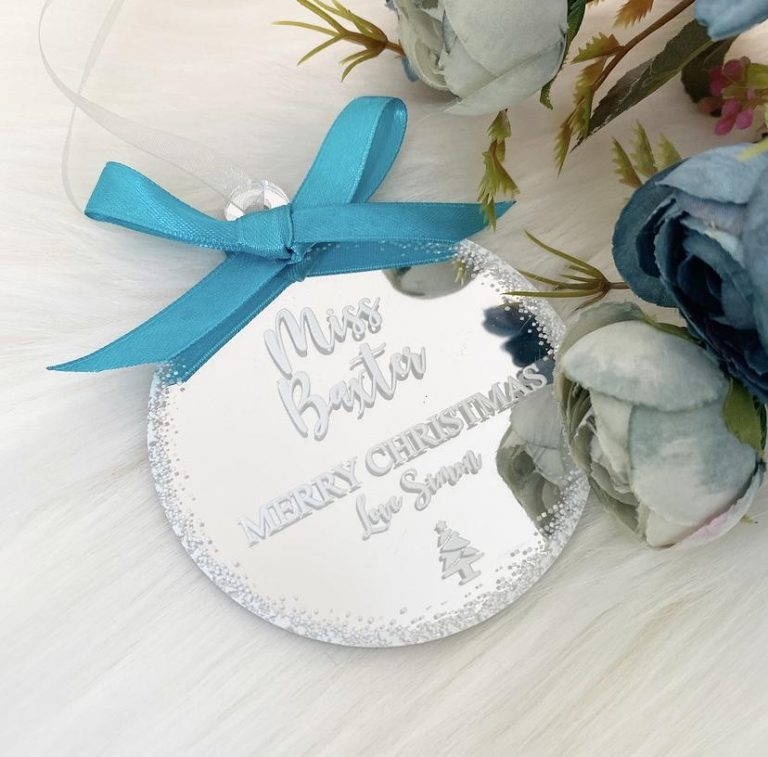 Personalised 'Teacher' Bauble – Silver