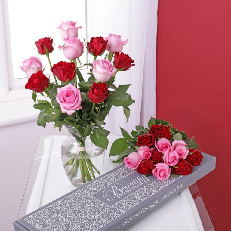 Personalised Letterbox Roses – Pink & Red