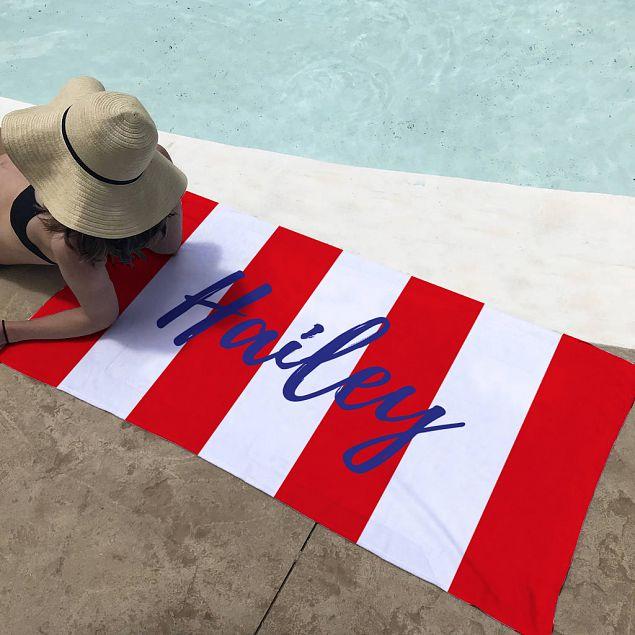 Personalised Red Stripes Beach Towel