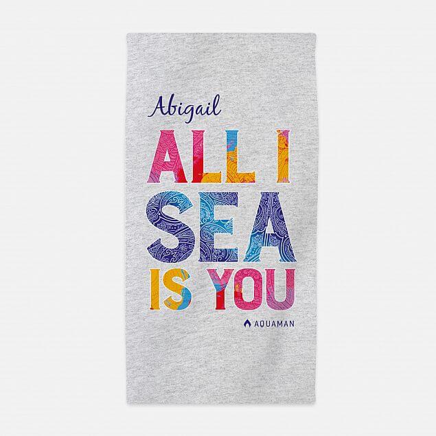 Personalised Aquaman All I Sea Is You Beach Towel
