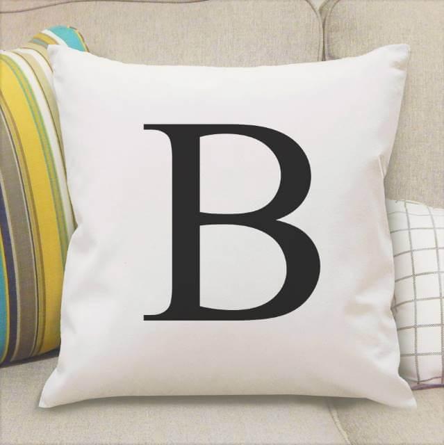 Personalised Black Monogram Initial Cushion Cover