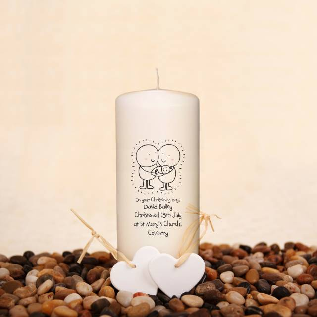 Personalised Chilli & Bubble's Christening Candle