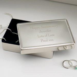 Personalised Any Message Rectangular Jewellery Box