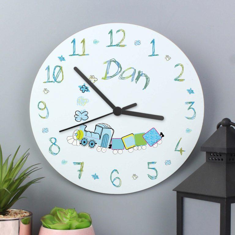 Personalised Patchwork Train Clock