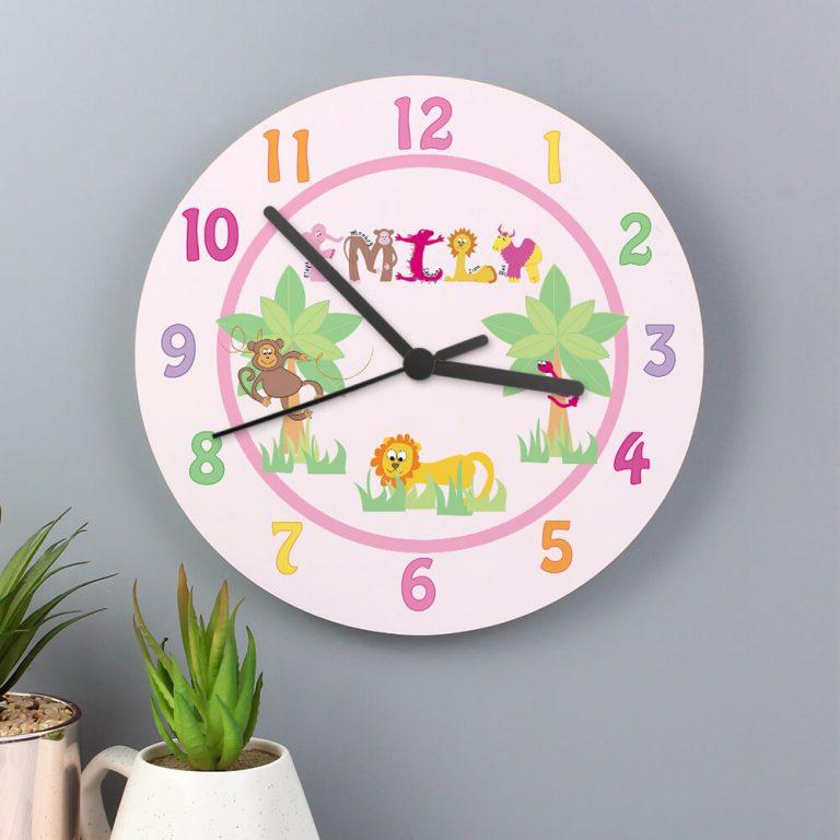 Personalised Pink Animal Alphabet Clock