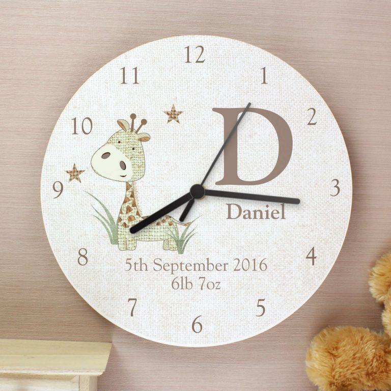 Personalised Hessian Giraffe Shabby Chic Large Wooden Clock