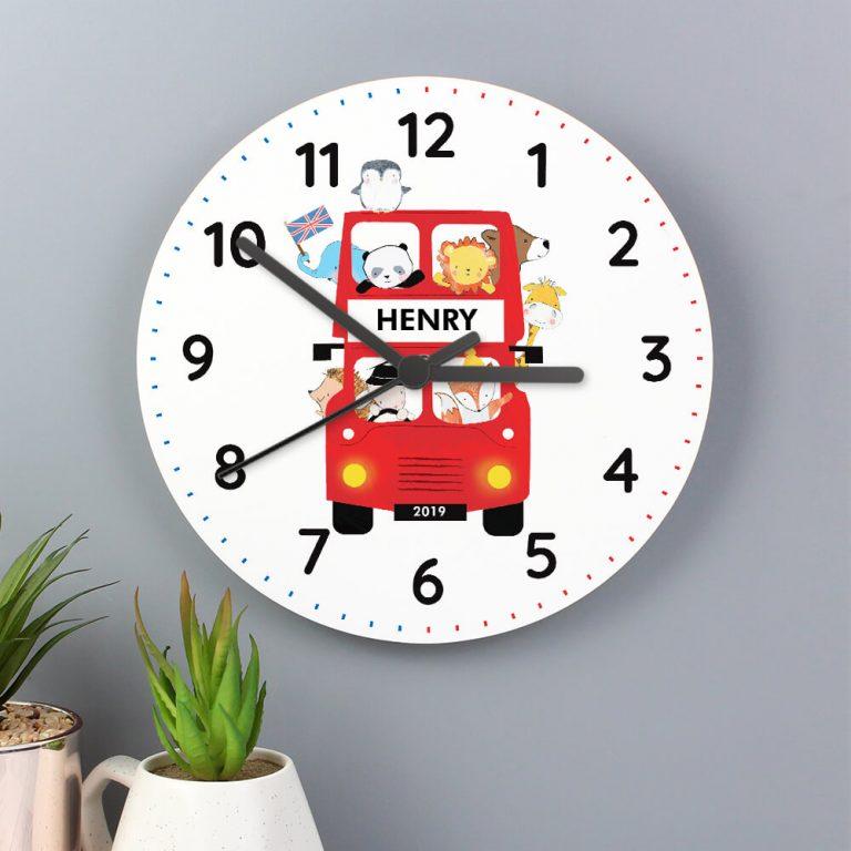 Personalised London Animal Bus Wooden Clock