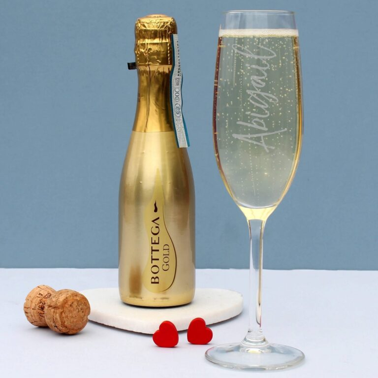 Personalised 200ml Gold Bottega & Flute Set