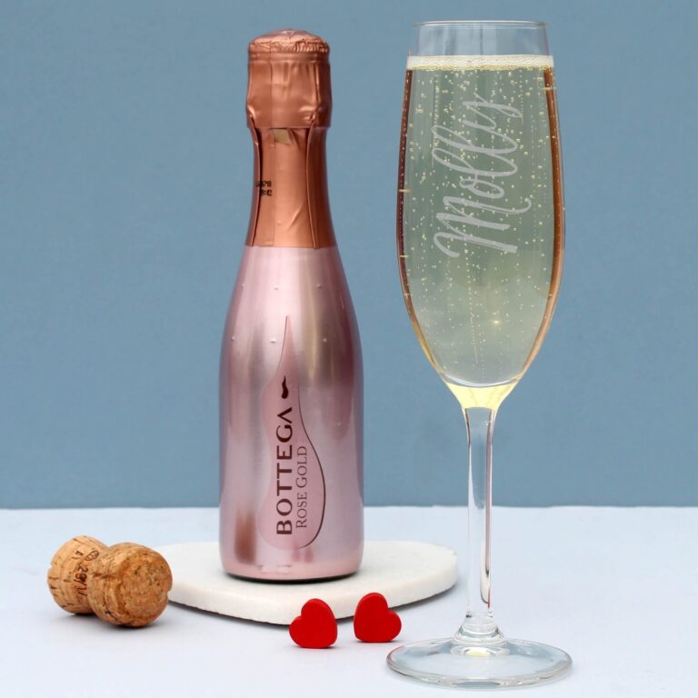 Personalised 200ml Rose Gold Bottega & Flute Set