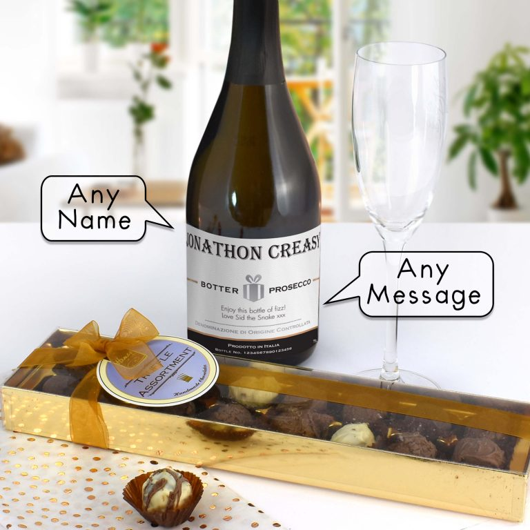 Personalised Prosecco with Contemporary Plain Label – Chocolates Giftpack