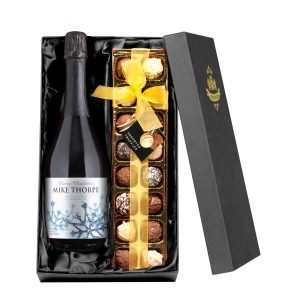 Personalised Winter Snow Prosecco with Chocolates Giftpack