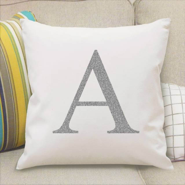 Personalised Silver Monogram Initial Cushion Cover