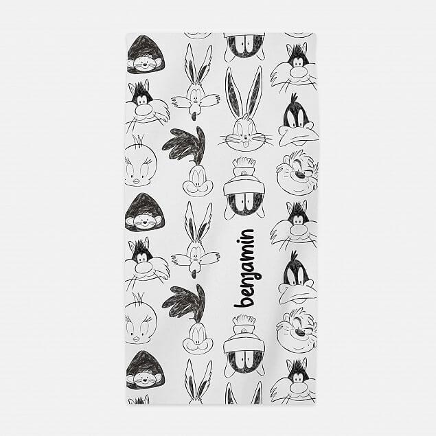 Personalised Baby Looney Tunes Sketch Beach Towel