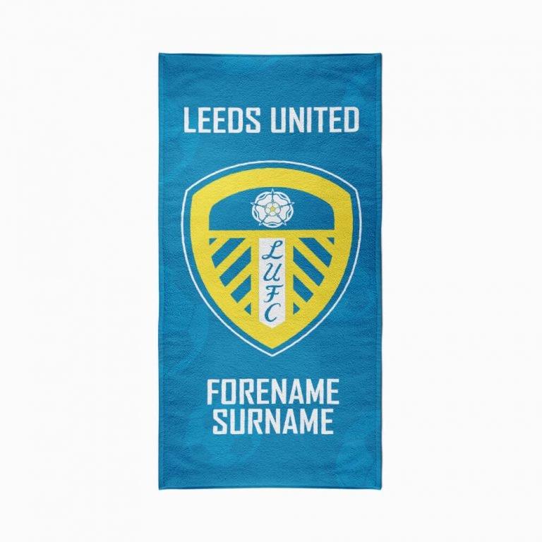 Personalised Leeds United FC Crest Beach Towel – 70cm x 140cm