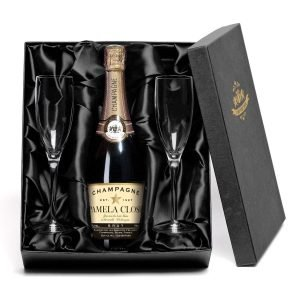 Personalised Authentic Star Champagne with set of Glass Flutes