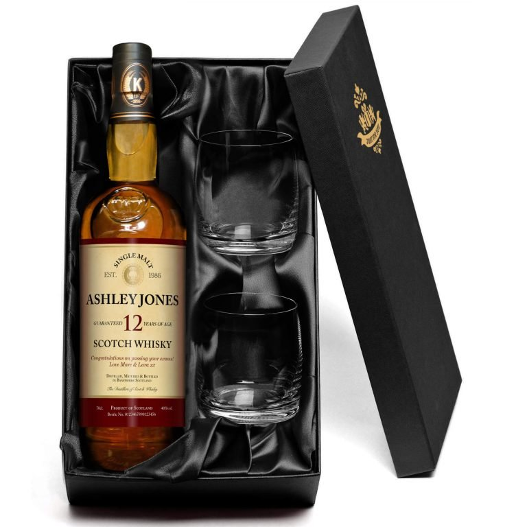 Personalised 12 Yr Old Malt Whisky for Any Occasion with set of Glasses