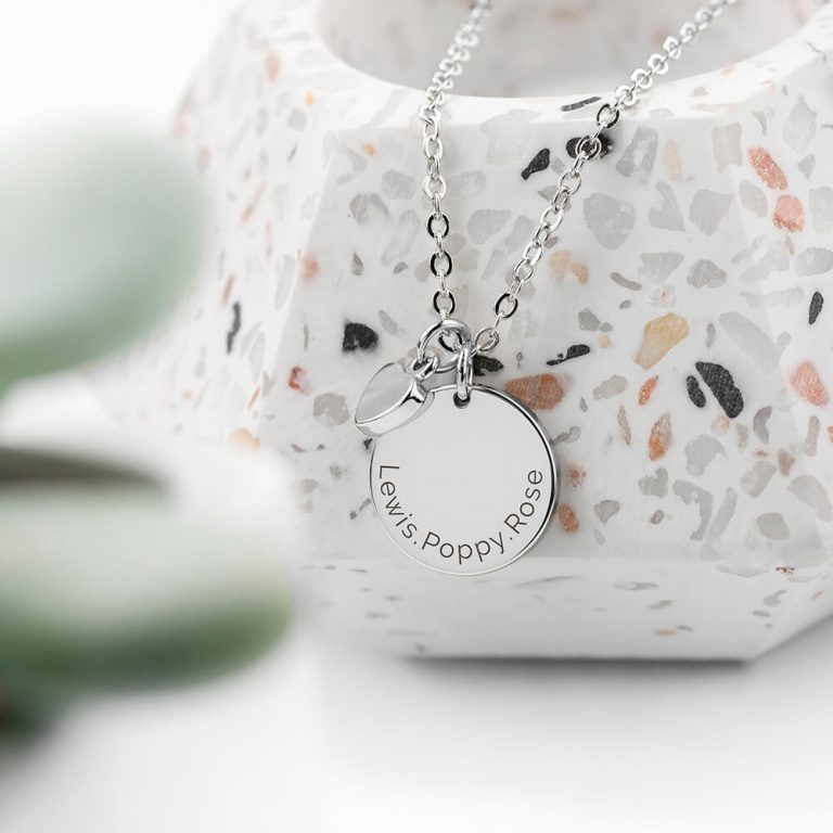 Personalised Polished Heart and Disc Necklace – Silver